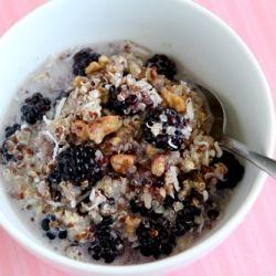 Warm breakfast quinoa with cinnamon, toasted walnuts, shredded coconut ...
