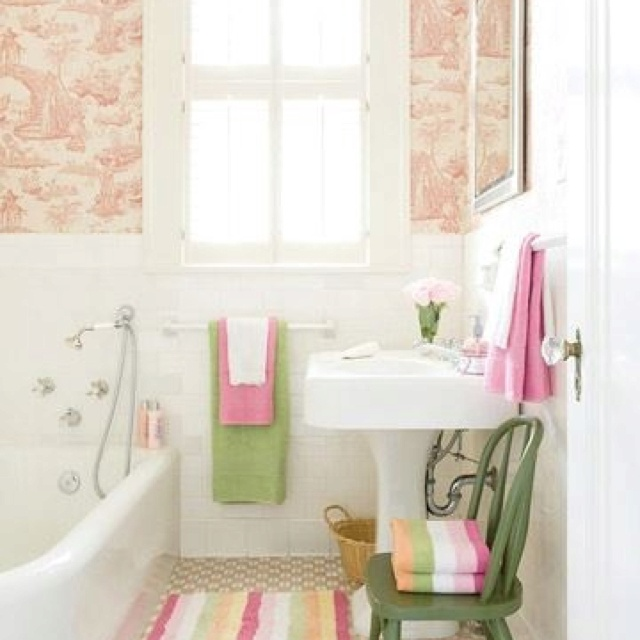 Pink green bathroom decorating ideas pinterest Pink bathroom ideas pictures