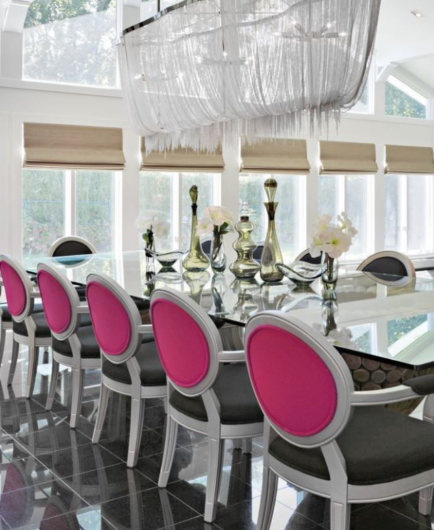Black white pink dining room decor like the style of chair and the