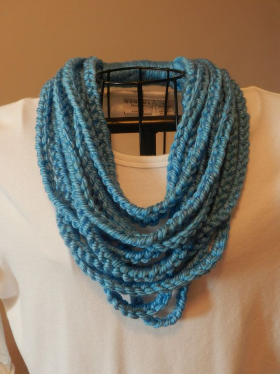 Crochet Stitches Chain : ... Chain Stitch Scarf/ One Loop Scarf/ Bright Blue Chain Infinity Scarf