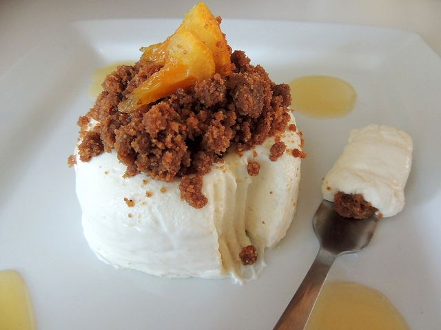 No-bake valencia orange cheesecake with caramelized gingersnap crumbs ...