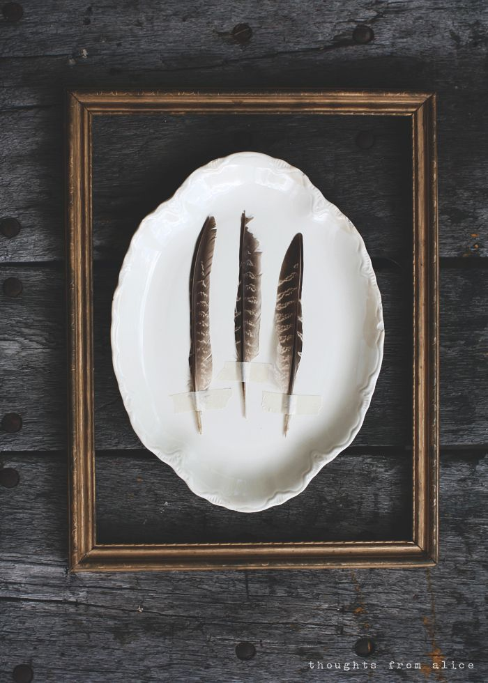 Thoughts from Alice: DIY Feather & Plate Art - antique ironstone, transferware, gold frames, feathers and masking tape - simple gallery wall for dining room