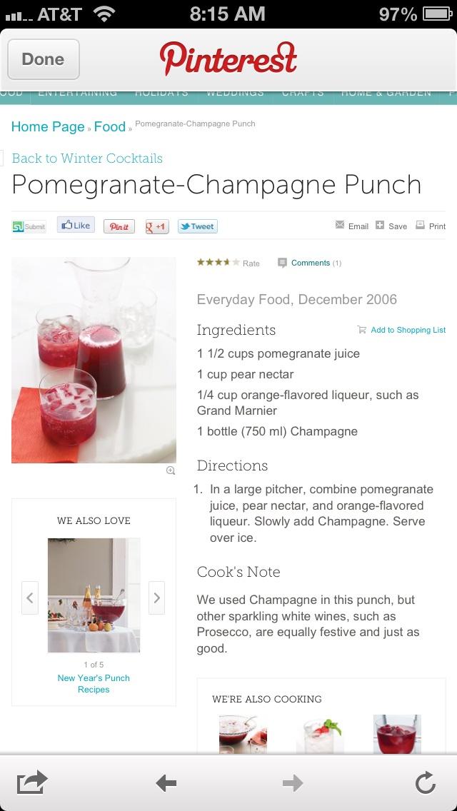 Pomegranate champagne punch :: Martha Stewart