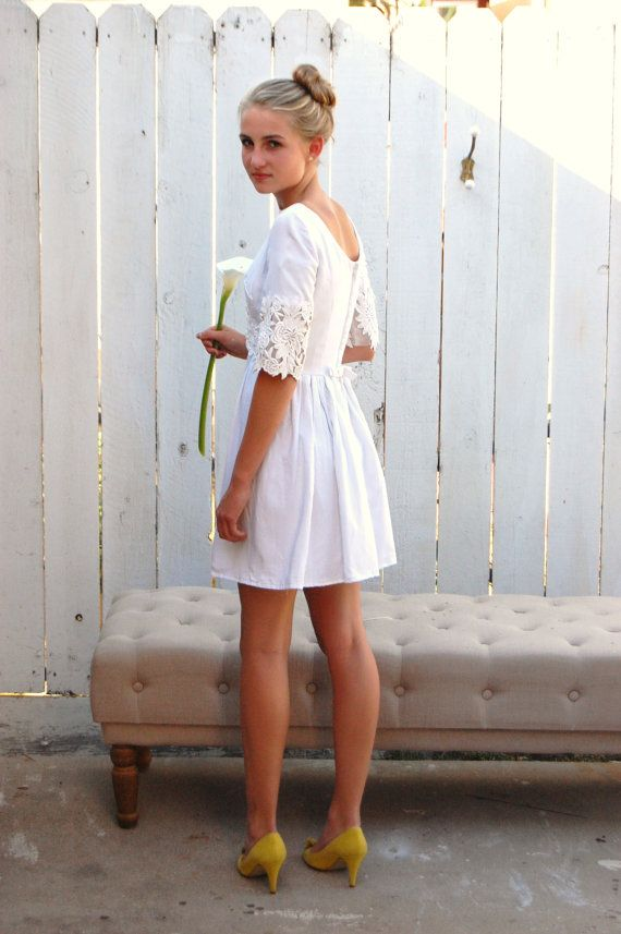 Vintage 60 39 s white linen and lace short mod wedding dress for 60s style wedding dresses