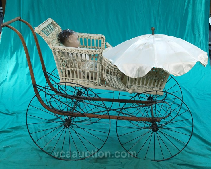 Early Victorian Wicker & Cast-Iron Baby Stroller