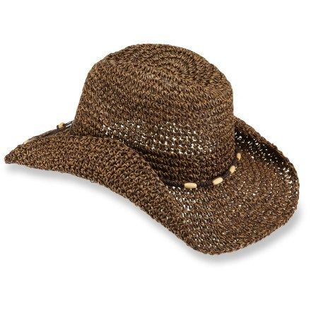 Rei crocheted cowgirl hat made with loosely woven natural paper