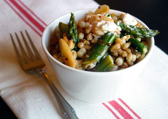 Meyer Lemon Grain Salad (Spelt & Pearl Cous Cous) with Asparagus, Almonds and Goat Cheese