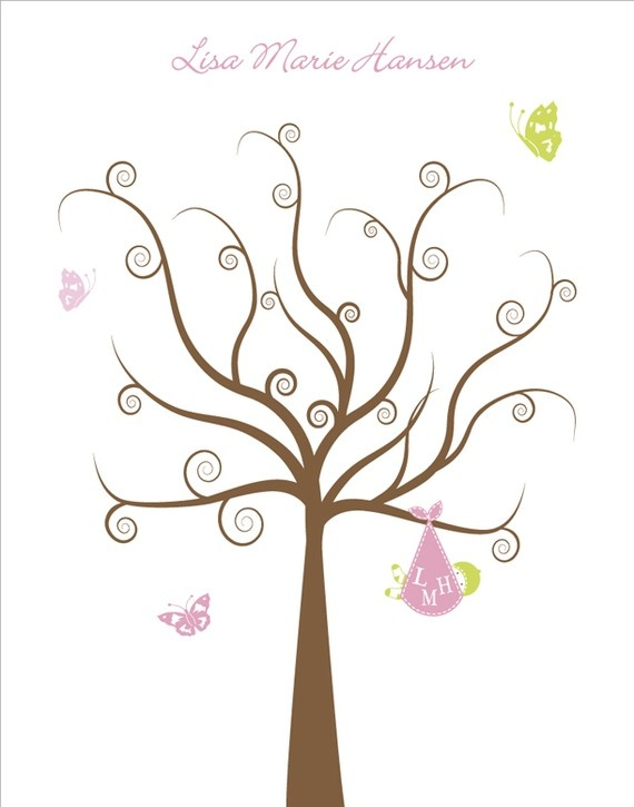 baby shower fingerprint tree hand drawn by owl pussycat on madeit