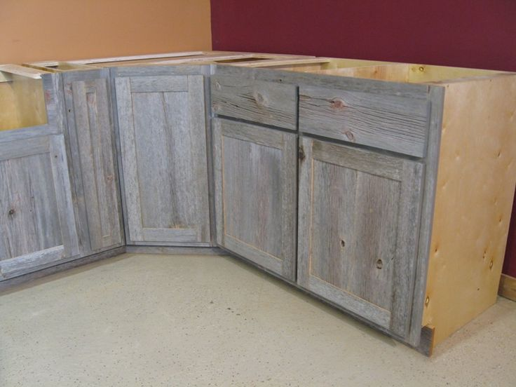Weathered gray barn wood kitchen island country for Gray wood kitchen cabinets
