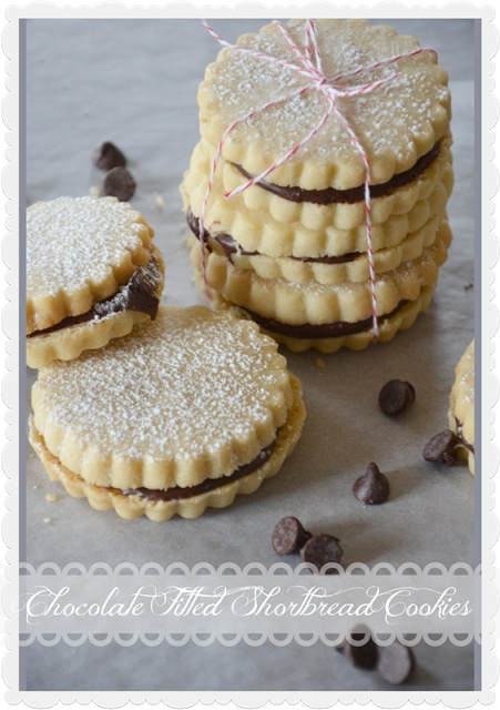 Chocolate Filled Shortbread Cookies--use cookie stamp and add nutela