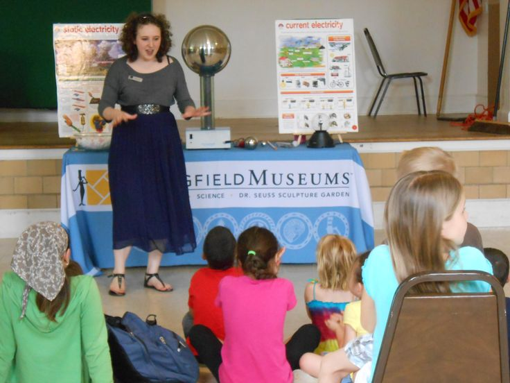 Children learn about the differences between static and current electricity during a Museums on the Go!: Electricity program at a local library.