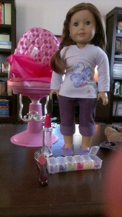 Easy hairstyles for AG dolls. Pill organizer for little rubber bands.
