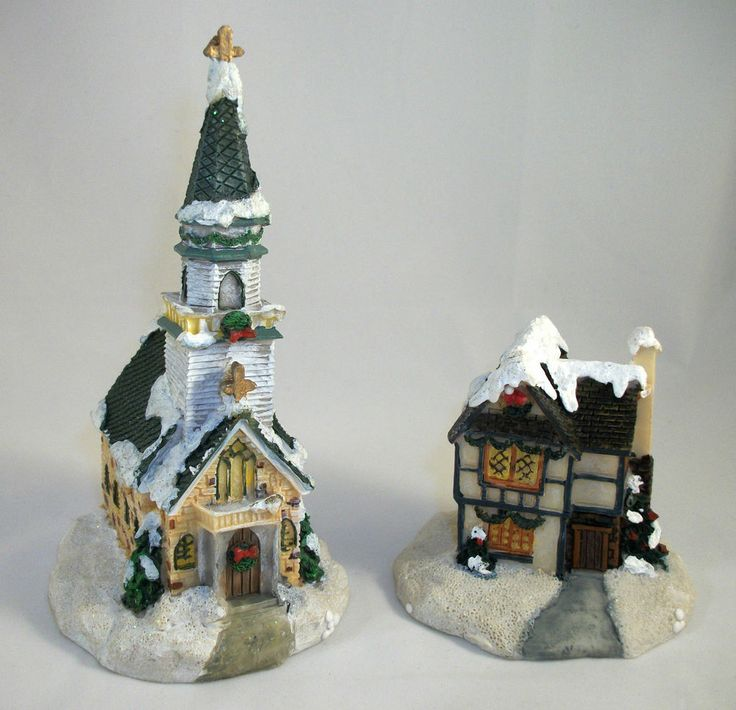 MINIATURE CHURCH & HOUSE for Winter Village- Great for Christmas & Holidays. Excellent Pre-Owned Condition! $14.95 obo (Free S&H)