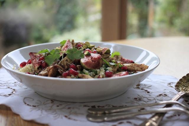 Pomegranate Glazed Spiced Chicken and Fig Quinoa Salad