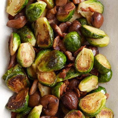 Brussels Sprouts with Bacon with Roasted Chestnuts Recipe - Country ...
