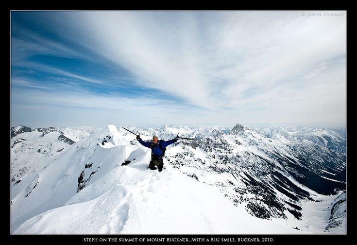 Steph Abegg on the summit of Mt. Buckner, WA
