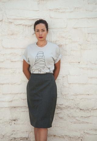 CLIENT MICROPHONE HANDCUFF T SHIRT #vintage #grey #wool #skirt #microphone #tshirt #music #client #clientlondon