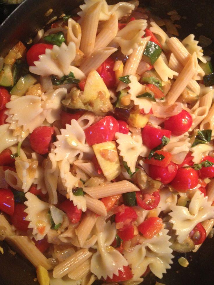 zucchini, eggplant, red onion, squash, basil, garlic, cherry tomatoes ...