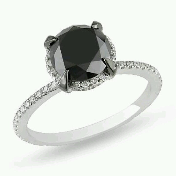 Black diamond halo ring Jewelry