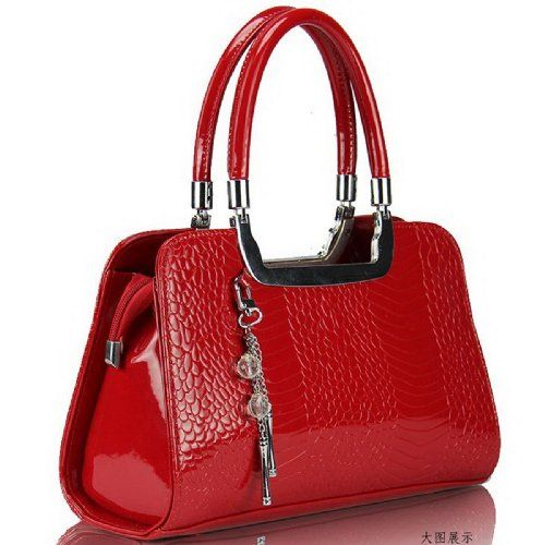 Tq New Style Patent Leather Leisure Scales Red Satchel Style Handbags