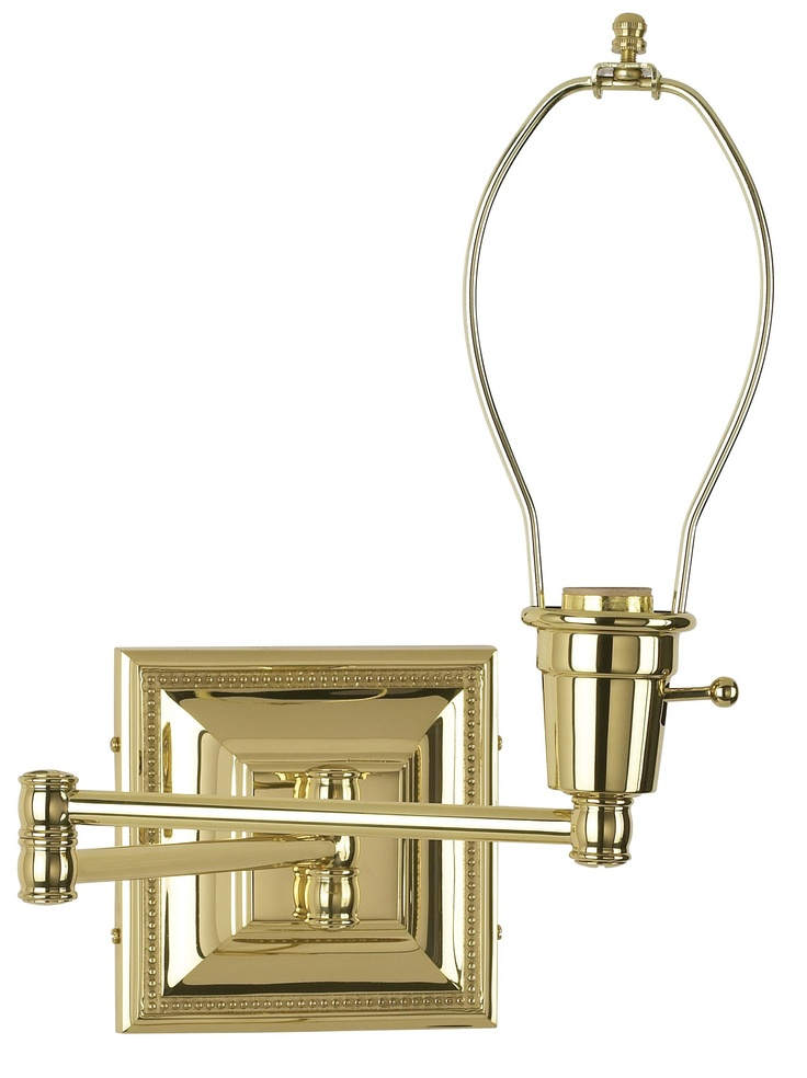brass finish plug in swing arm wall lamp base. Black Bedroom Furniture Sets. Home Design Ideas