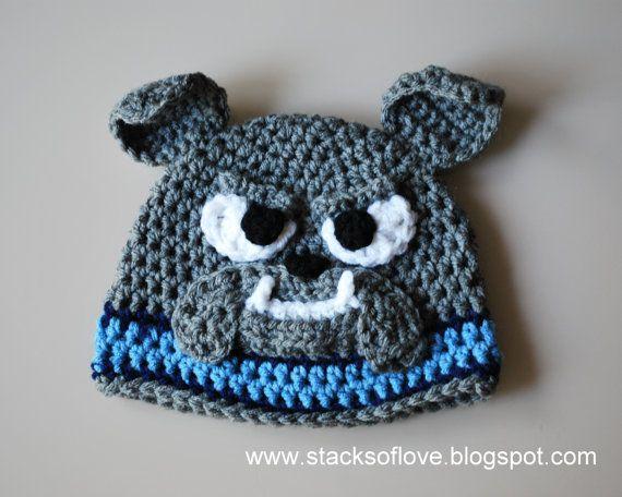 Free Pattern For Crochet Bulldog : Bulldog Crochet Beanie Hat
