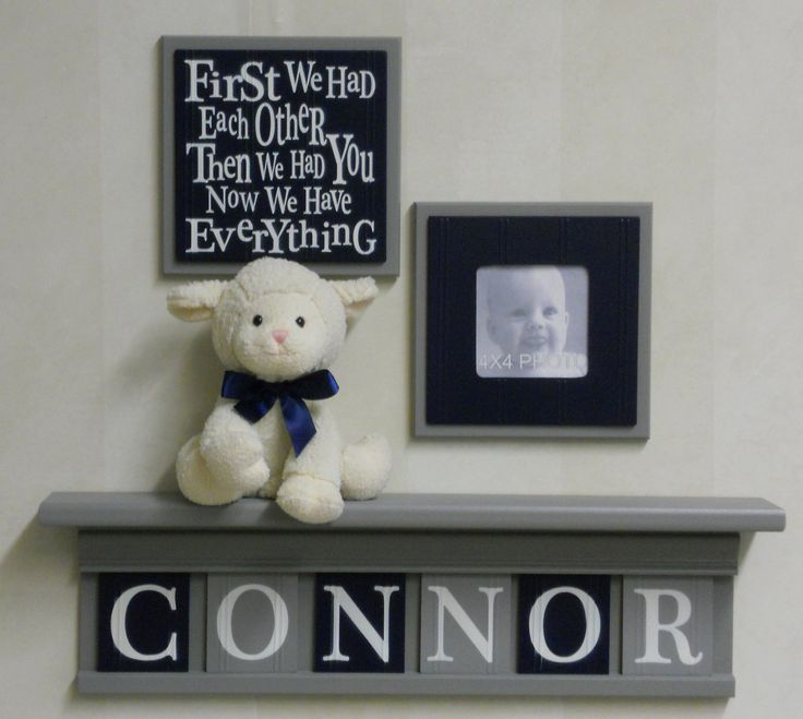 Navy+and+Gray+Baby+Nursery+Wall+Decor++Set+of+2++by+NelsonsGifts,+$29.90