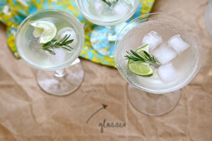 Rosemary simple syrup, vodka, sparkling water, and fresh lime
