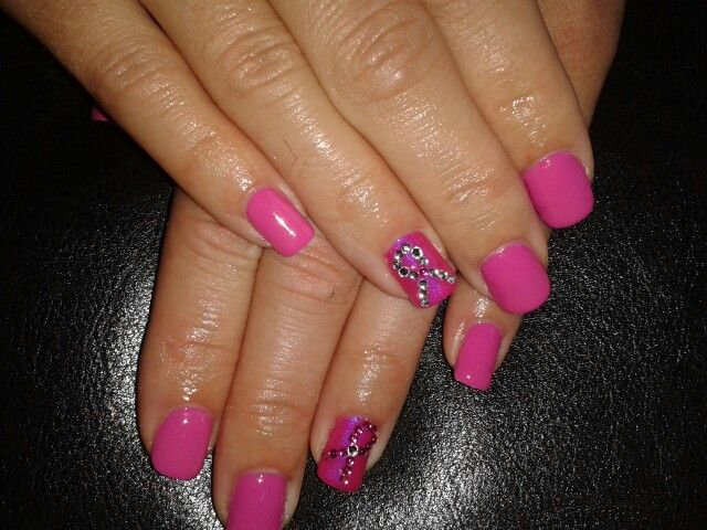 Pink RiBBoN Shellac nails for Breast Cancer Awareness Month