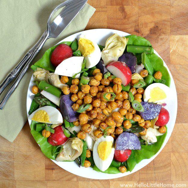Spring Vegetable Salad with Lemon-Basil Vinaigrette & Roasted ...