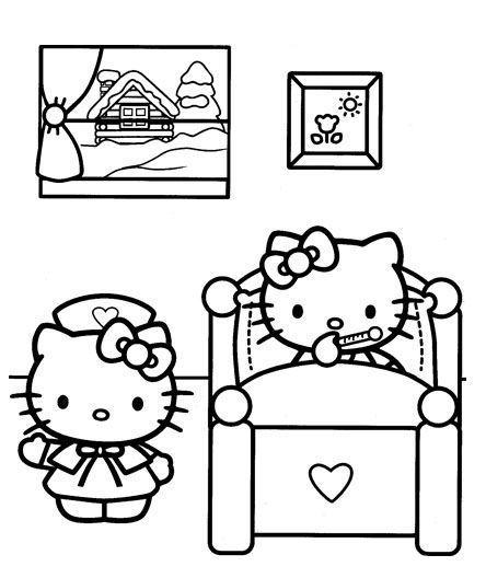 sick in bed | Hello Kitty Coloring Pages | Pinterest