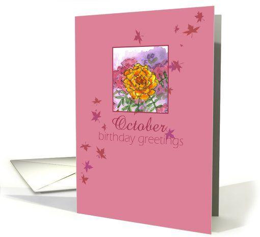 October Birthday Ecards ~ Happy october birthday greetings marigold flower watercolor card