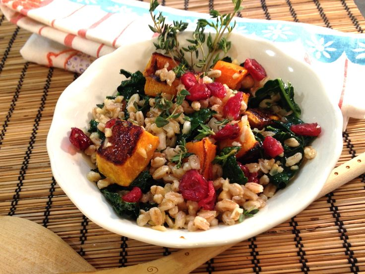 and flavorful Fall salad! Roasted butternut squash, kale, and farro ...
