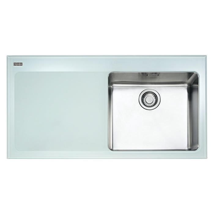 Franke Black Glass Sink : Franke Kubus Glass Framed Kitchen Sink Left Drain Black 39 x 21 x 9 ...