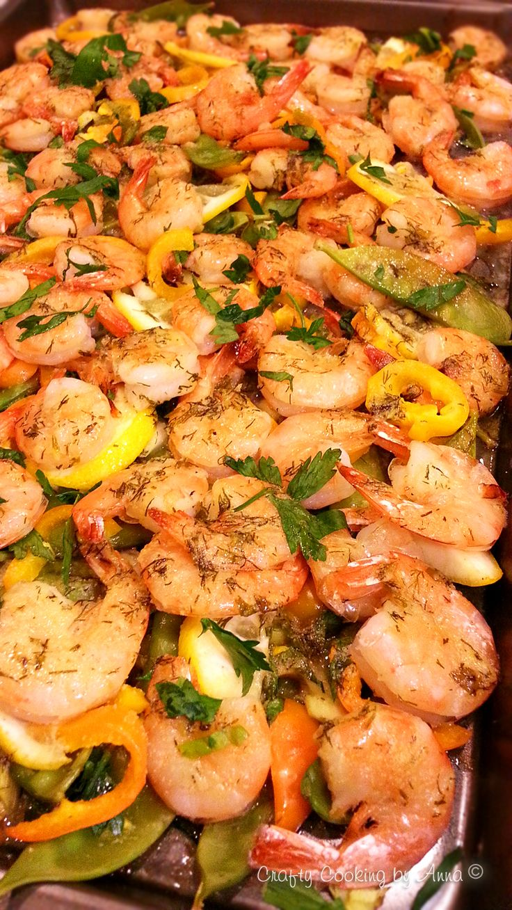 Easy Baked Garlic Shrimp with snow peas, peppers, green onions ...