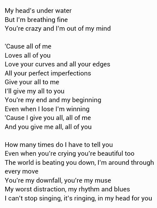 All of Me ~ John Legend. Love this song.   Song Lyrics ...