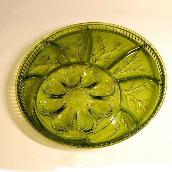 Indiana Glass Olive Green Deviled Egg & Relish by RealCoolVintage, $15 ...