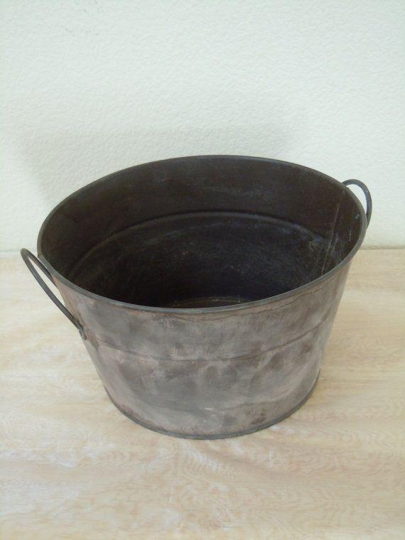 Vintage industrial metal bucket planter pail for Metal bucket planter