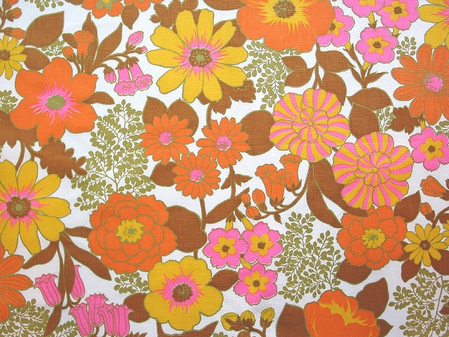 Vintage flower power fabric patterns textures pinterest for Vintage fabric
