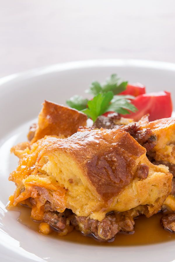 Breakfast Bread Pudding - sausage + cheddar cheese + maple syrup!