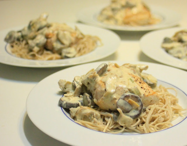 Dijon Chicken with Mushrooms and Artichokes over Soba Noodles