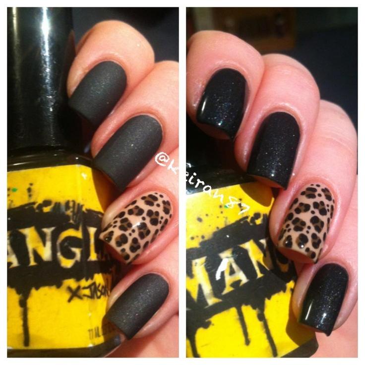 Badass matte black + cheetah print mani