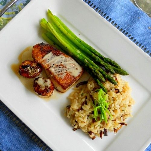 ... Sea Bass and Wild Scallops with Shiitake Risotto and Fresh Asparagus