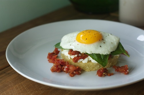 """Open-Faced Egg Sandwich inspired by the """"Tomato Burger"""" from Blue ..."""