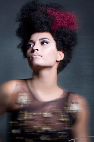 black women hairstyles, Curly updo, Afro Medium length, done upblack and pink