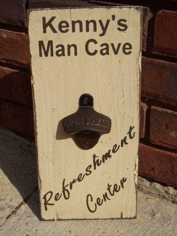 Man Cave Signs Personalised : Personalized man cave wood sign with bottle opener