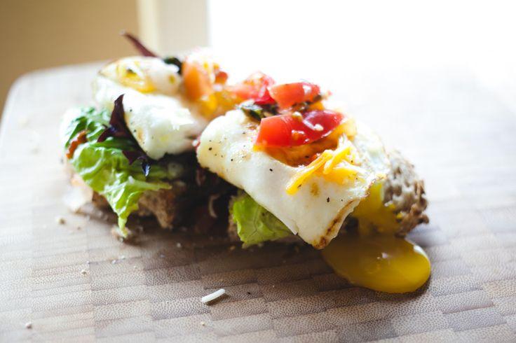 Open-face egg sandwich | Vegetarian Sandwiches | Pinterest