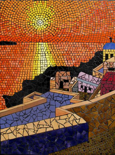 View from Santorini looking past buildings and walkways to a brilliant vibrant sunset. Santorini Sunset mosaic mural in ceramic tiles by Brett Campbell Mosaics