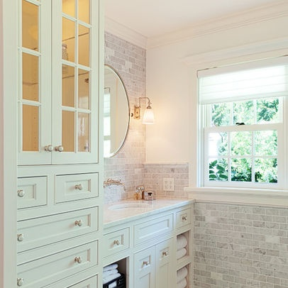 small bathroom with built in linen cabinet tea2 architects