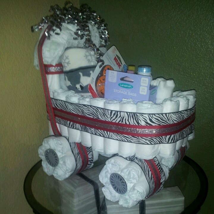 How To Make A Diaper Stroller Cake For A Boy